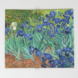 Irises, Vincent Van Gogh Throw Blanket