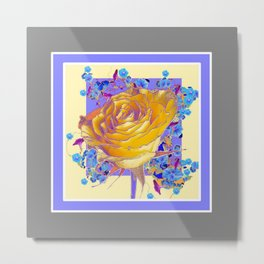 YELLOW ART ROSE FLOWERS  LILAC-GREY Metal Print