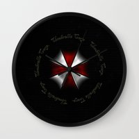 resident evil Wall Clocks featuring RESIDENT EVIL - UMBRELLA by Raisya