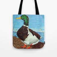 duck Tote Bags featuring Duck by GiGi Garcia Collages
