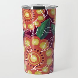 Retro Flowers on Dark Pink Travel Mug