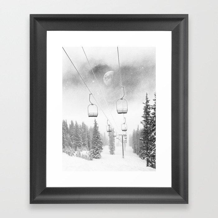 Ski Lift Moon Break // Riding the Mountain at Copper Colorado Luna Sky Peeking Foggy Clouds Gerahmter Kunstdruck