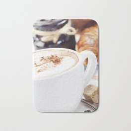 Breakfast with coffee, croissants and jam Bath Mat