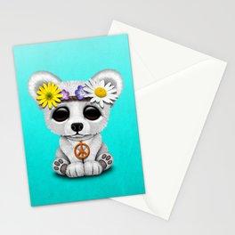 Cute Baby Polar Bear Hippie Stationery Cards