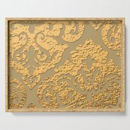 Gold Metallic Damask Print Serving Tray