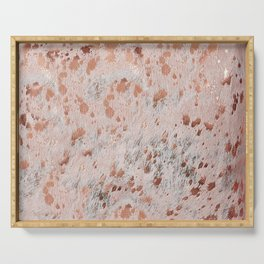Rose Gold Cow Hide Print  Metallic Copper Serving Tray