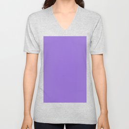 Dark Chalky Pastel Purple Solid Color Unisex V-Neck