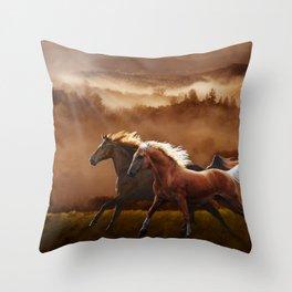 A Race at Sunset Throw Pillow