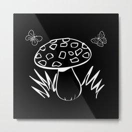 Autumn Child Mushroom Butterflies Motif Metal Print
