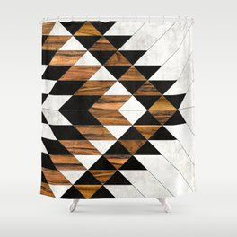 Urban Tribal Pattern No.9 - Aztec - Concrete and Wood Shower Curtain