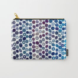 Watercolor Brush Strokes and Splashes Pattern in Cobalt, Violet and Ocher Carry-All Pouch