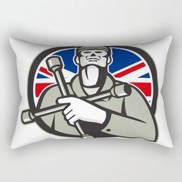 British Tyre Technician Lug Wrench Union Jack Flag Circle Icon Rectangular Pillow