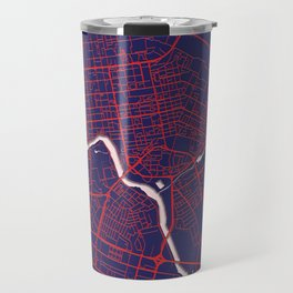 Astana, Kazakhstan, Blue, White, City, Map Travel Mug