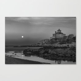 "Full ""Pink"" Moon at Good Harbor Beach BW Canvas Print"