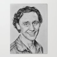 tom hiddleston Canvas Prints featuring Tom Hiddleston by hinterdemlicht
