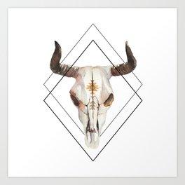 Geometric bull skull Art Print