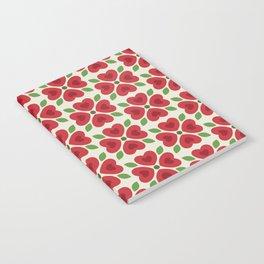 Christmas Heart Flowers Notebook