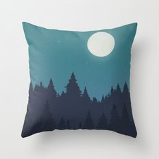 Tree Line - Turquoise Throw Pillow