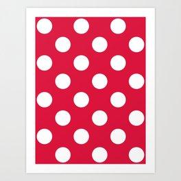 Large Polka Dots - White on Crimson Red Art Print