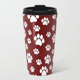 Puppy Prints on Maroon Travel Mug