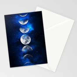 Phases of the Moon Blue Stationery Cards