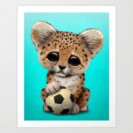 Leopard Cub With Football Soccer Ball Art Print
