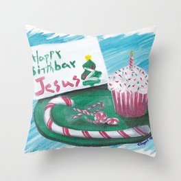 Happy Birthday Jesus Christmas Card Throw Pillow