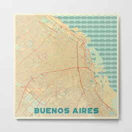Buenos Aires Map Retro Metal Print