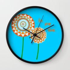 Blue Blooms Wall Clock