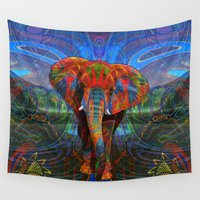 the fault Wall Tapestries featuring Elephant by Waelad Akadan