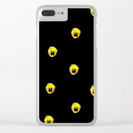 YELLOW  PANSY FLOWERS SPRINKLED ON MIDNIGHT BLACK Clear iPhone Case