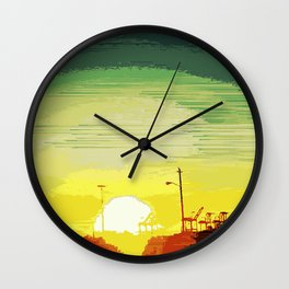 Sunset Over The Shipyard Pixelart Wall Clock