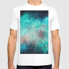 Turquoise Galaxy Star Kitty Pattern Mens Fitted Tee MEDIUM White