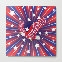Blue red and white bald eagle with stars Metal Print