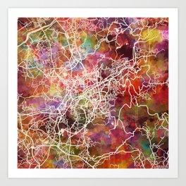 Braga map Portugal Art Print
