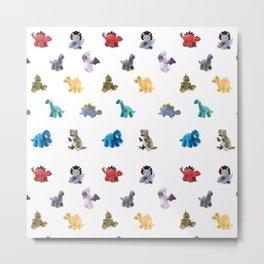 Ten Plush Dinos Pattern Metal Print