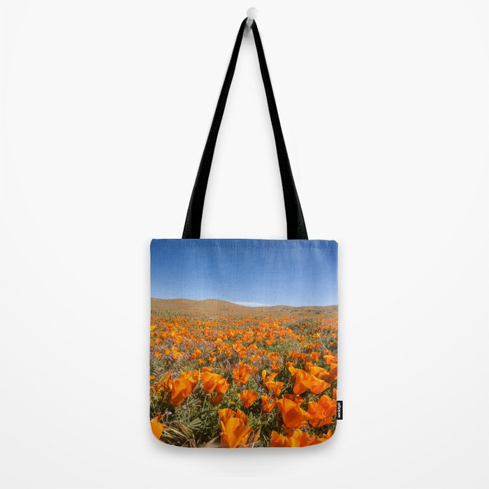 Blooming poppies in Antelope Valley Poppy Reserve Tote Bag