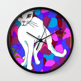 Pretty White Kitty in the Window - Stained Window Wall Clock