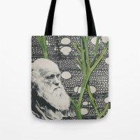 darwin Tote Bags featuring Darwin-ing by Eleanor Boersma
