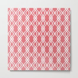 Candy pink and white curved lines Metal Print