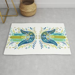 Hamsa Hand – Lime, Turquoise & Navy Palette Rug