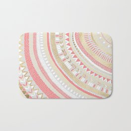 Coral + Gold Tribal Bath Mat