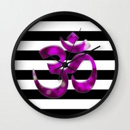 Black & White Stripes Crown Chakra Symbol Wall Clock