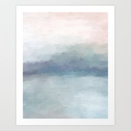 Blush Pink Mint Sky Baby Blue Abstract Ocean Sky Sunrise Wall Art Water Clouds Painting Print Art Print