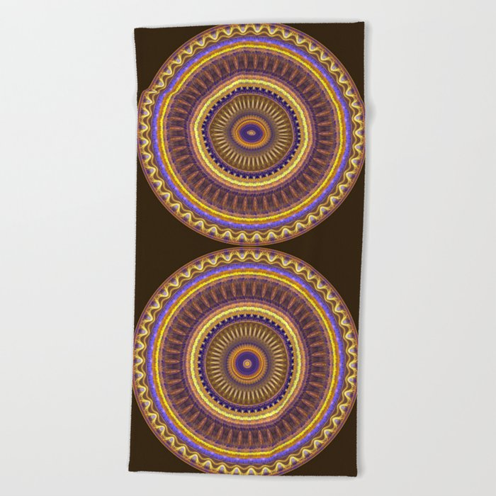 Groovy mandala with waves and tribal patterns in brown, yellow, blue and purple Beach Towel