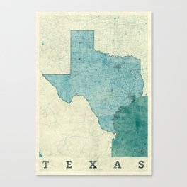 Texas State Map Blue Vintage Canvas Print
