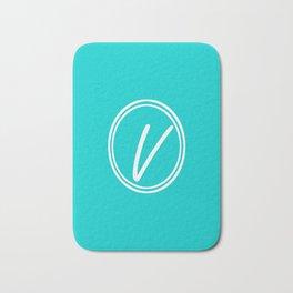 Monogram - Letter V on Cyan Background Bath Mat