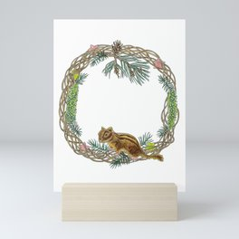 Squirrel wreath Mini Art Print