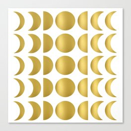 Gold Moon Phase Pattern Canvas Print