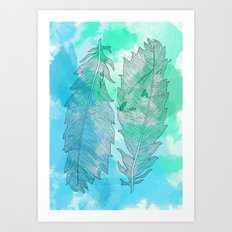 Feathers on Watercolor Art Print